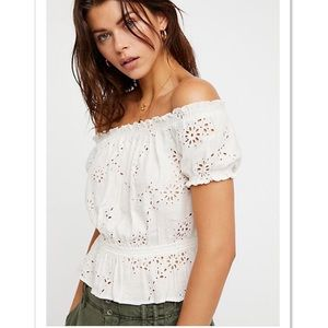 NWT Free People Jasmine Peasant Top